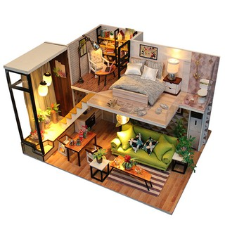 DIY Loft Apartments Dollhouse Wooden Furniture LED Kit Christmas Birthday