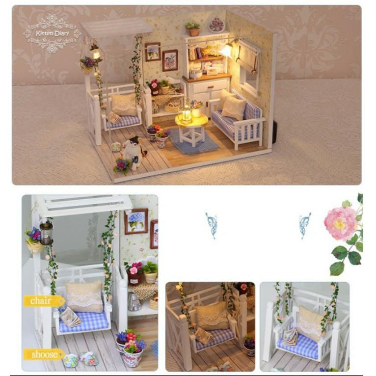 Quà tặng mô hình nhà có đèn, nhạc, remote - Nhật ký của bé Mèo