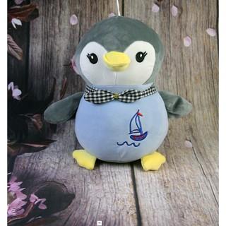 [Safe][Ảnh thật ]Gấu bông Oenpe chim cánh cụt đeo nơ xanh xám chất liệu cao cấp