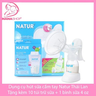 Máy hút sữa cầm tay Natur ( tặng 10 túi trữ sữa Natur 240ml )