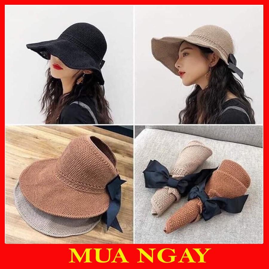 Mũ Cói Mềm Hở Chóp Che Nắng Nơ Sau Siêu Xinh MC11