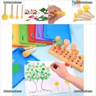 InitiationDawn 4 Pcs/set Kid Sponge Paint Brush Wooden Handle Children Painting Graffiti 4 Size