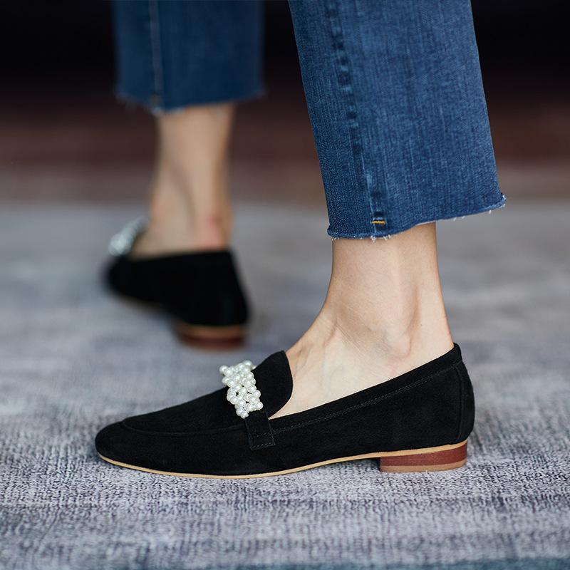 Giày Lười Đính Ngọc Trai Phong Cách Cổ Điển Thanh Lịch Dành Cho Nữ