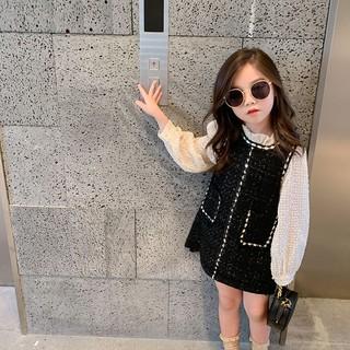 Đầm tay dài cổ bèo dễ thương cho bé gái