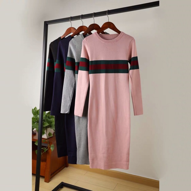 Đầm len body pha vạch gucci   SaleOff247