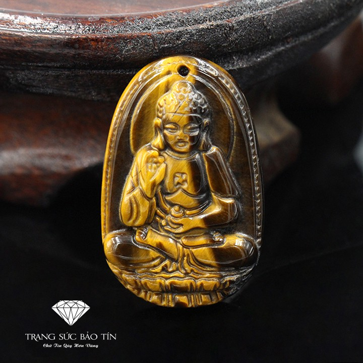 Mặt Dây Chuyền Phật A Di Đà Chất Liệu Đá Mắt Hổ Cao Cấp - Thương Hiệu Bảo Tín