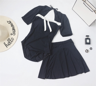 One-piece swimsuit women's hot spring covering belly thin elegant black triangle Korean style ins style fairy style Cons