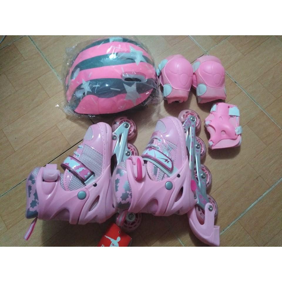 Combo bộ giày patin có mũ và bảo vệ tay chân( xanh, hồng).