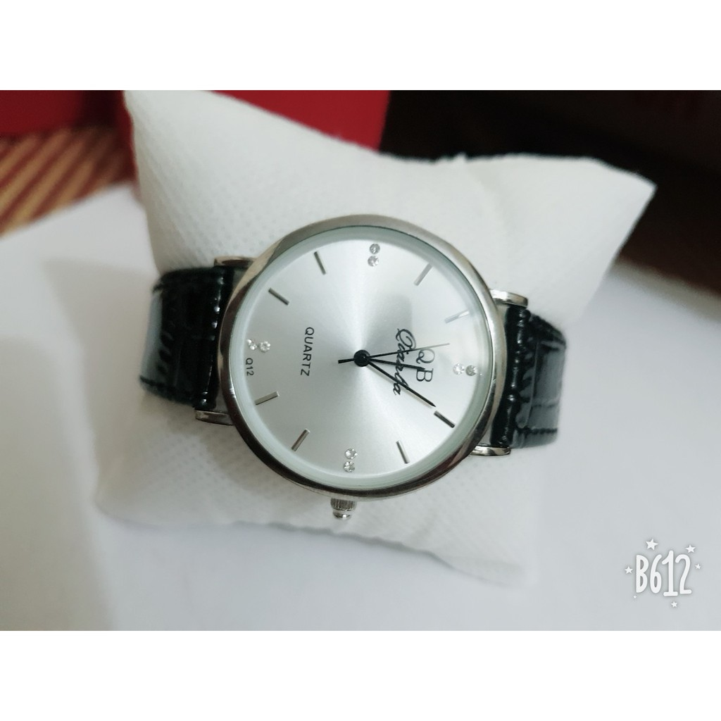 Đồng hồ nam, nữ qianba mặt trắng dây da đen bóng siêu đẹp