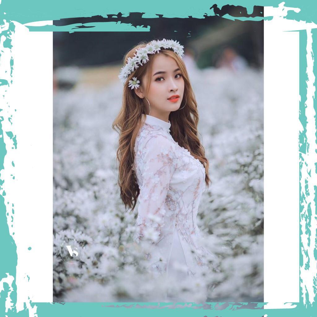 {Ưu đãi} Set áo dài cách tân phối hoa ren nổi xinh xắn