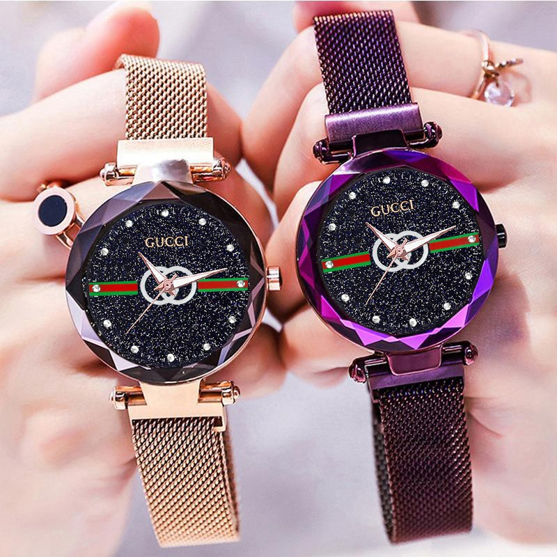 Women Starry Watch Magnetic Buckle Stainless Steel Watch