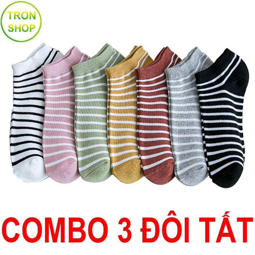 Combo 3 đôi tất ngắn TS644 vải cotton co giãn 4 chiều siêu bền
