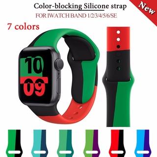 Dây Đeo Đồng Hồ Bằng Silicone Mềm Nhiều Màu Cho Đồng Hồ Thông Minh Apple Watch Series 6 Se 5 4 3 2 1 38mm 40mm 42mm 44mm