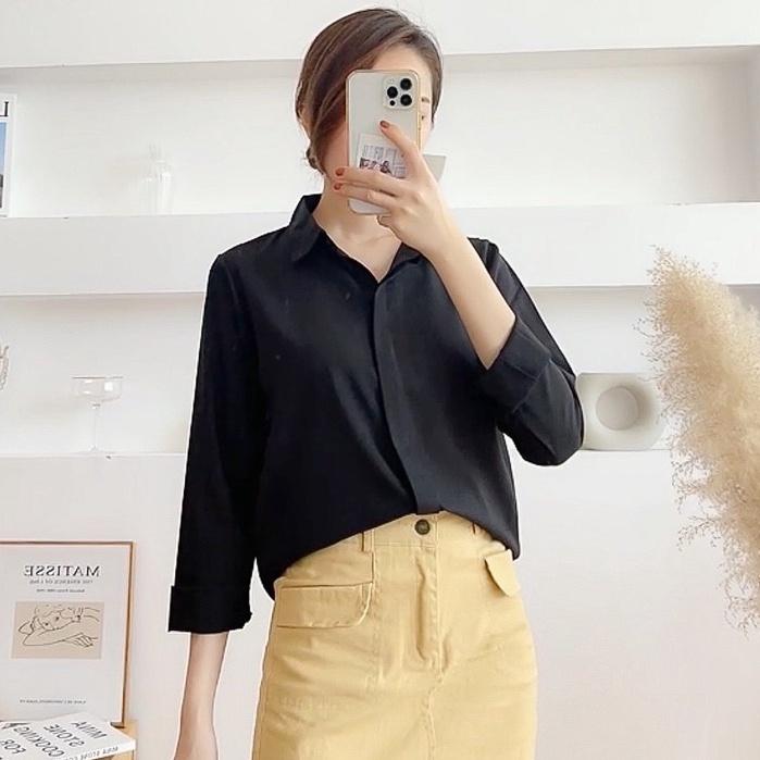 Mặc gì đẹp: Lịch sự với Áo sơ mia lụa cao cấp 💚 Áo sơ mi nữ công sở dài tay trơn màu