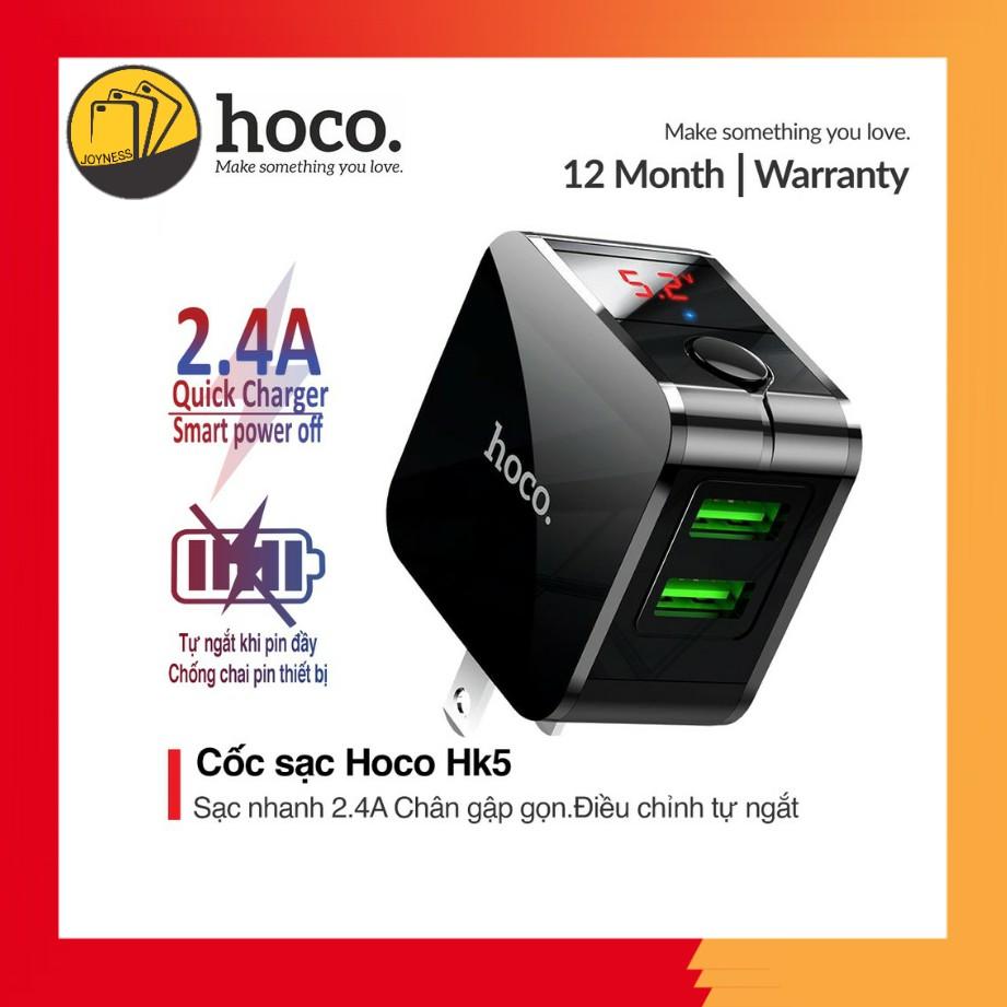 Cốc Sạc Nhanh Hoco HK5 Tự Ngắt Thông Minh Khi Đầy Pin ✔2 Cổng USB 2.4A