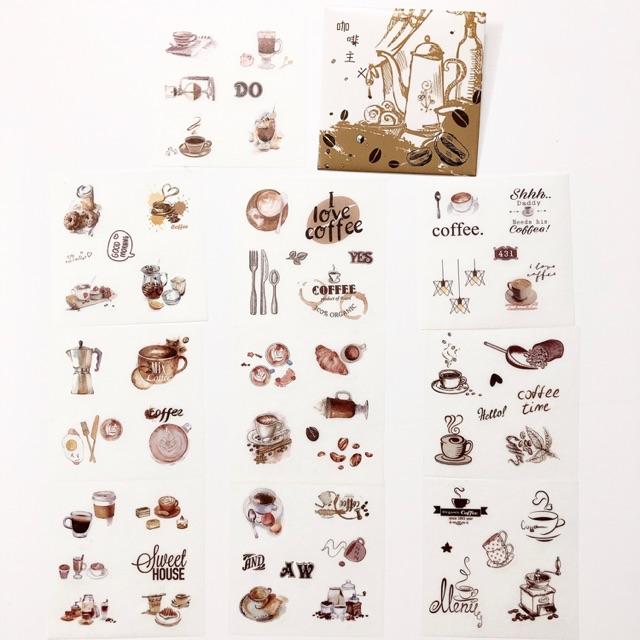 [4] Set 10 hình dán sticker trang trí sổ tay Coffee Shop