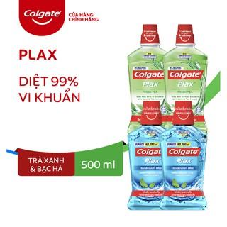 """Combo 4 Nước súc miệng Colgate diệt 99% vi khuẩn Plax trà xanh và Plax bạc hà 500ml/chai giá chỉ còn <strong class=""""price"""">17.900.000.000đ</strong>"""