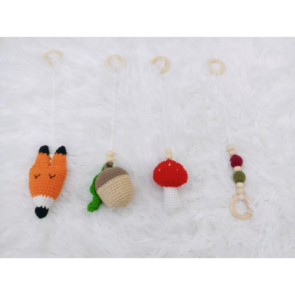 Treo nôi chủ đề rừng len cotton 100% handmade