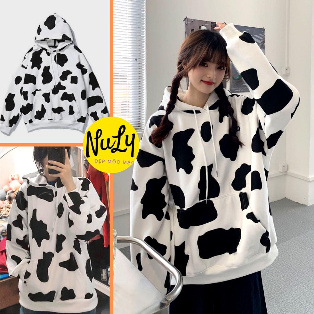 Áo hoodie nỉ bông NULY Loang Bò Sữa Unisex form rộng kiểu dáng Ulzzang, HDBS