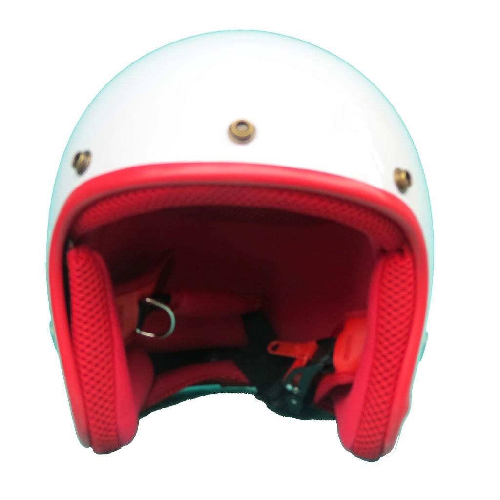 Mũ bảo hiểm 3/4 NTMAX trắng bóng lót đỏ