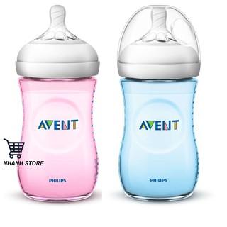Bình sữa Avent Natural 260ml Xanh - Hồng (Núm số 2, 1 tháng +) thumbnail