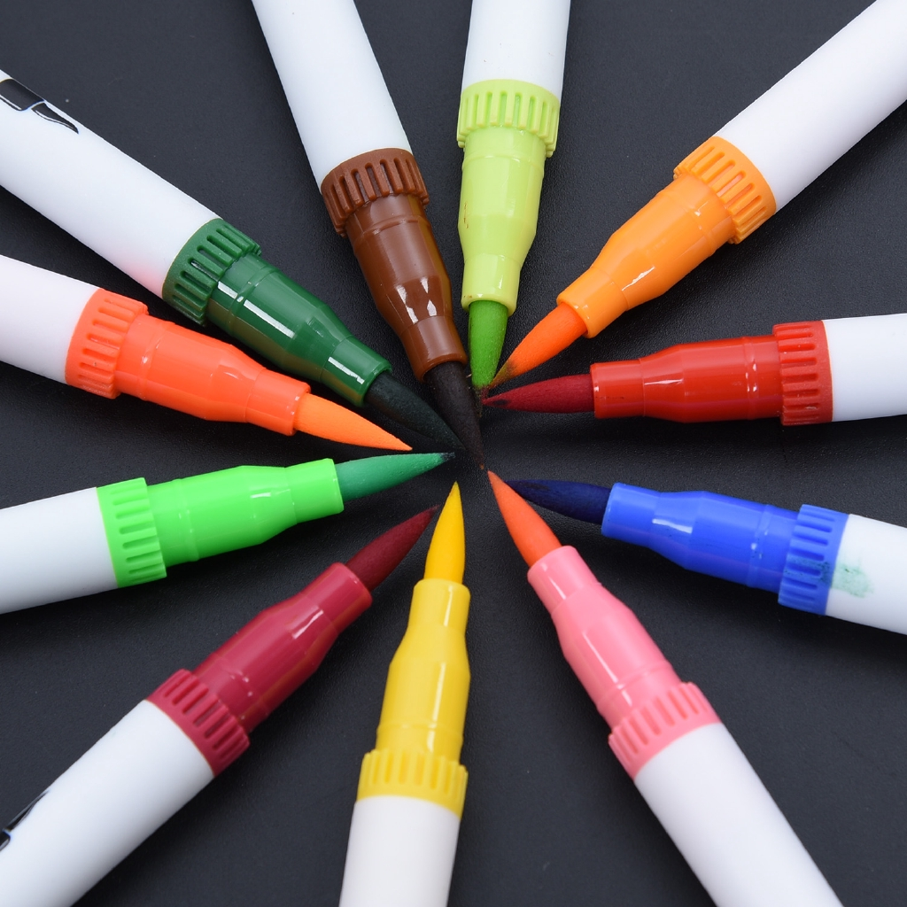 60 Colors Dual Tip Brush Markers Pens Set Art Paint Broad Fineliners Watercolor