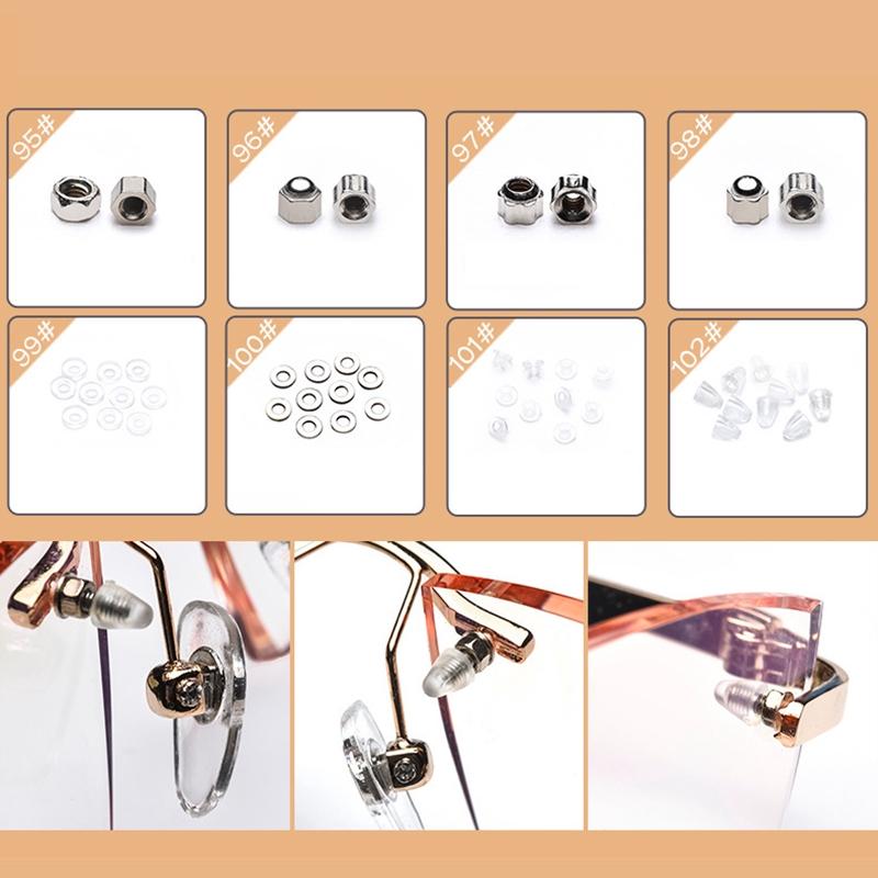 ☆Eyeglass Sunglass Repair Kit with Screws Tweezers Screwdriver Tiny Mini Screws Nuts Assortment Glasses Repair Nose Pads
