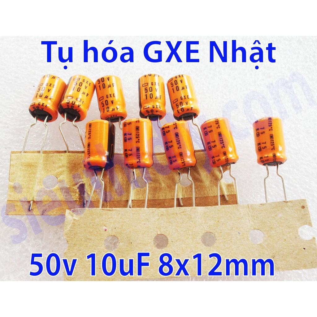 Tụ hóa 50V 10uF 125 độ C hãng GXE Nhật Bản cỡ 8x12mm