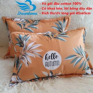 Yêu ThíchVỏ gối cotton 100% loại đẹp có lót bông, 1 đôi - size 45x65 cm, link 2