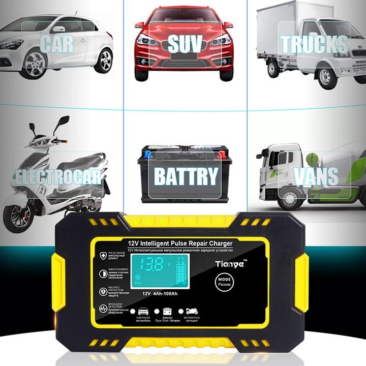 Sạc bình ắc quy 12v 6A 100Ah TIANYE có khử sunfat phục hồi bình- chống chập chống ngược cực- sạc acquy xe máy- ô tô