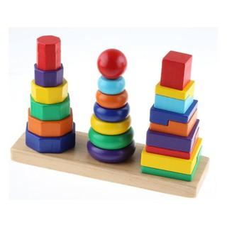 Đồ chơi tháp xếp chồng gỗ 3 cọc Montessori
