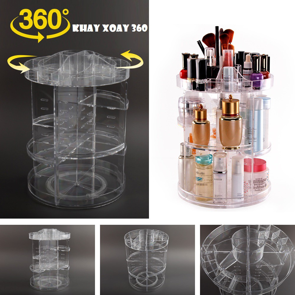 ❤️❤️Khay đựng mỹ phẩm, dụng cụ trang điểm cao cấp 4 TẦNG xoay 360 độ (loại dày đẹp)