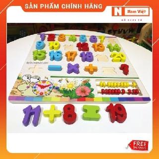 Bảng chữ số 20 số và dấu kết hợp bàn tính học đếm cho bé