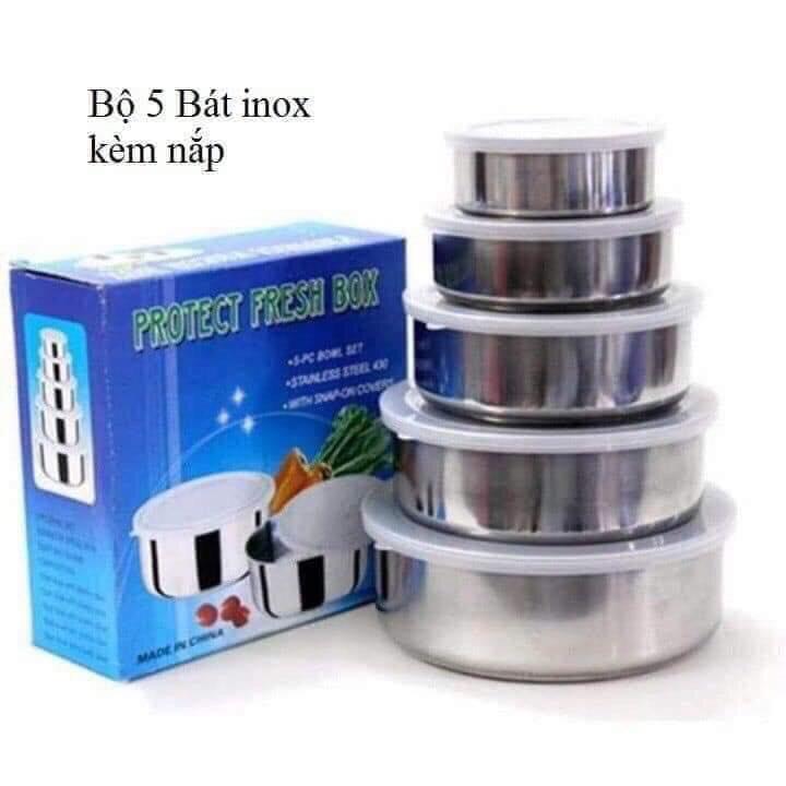 Bộ 5 bát INOX đựng thực phẩm có nắp hút chân không