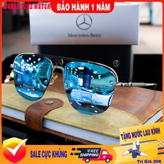 Kính mát nam Benz -5 xanh tráng gương thời trang cao cấp ,full box, tròng Polazied, chống lóa , chống tia UV cực tốt