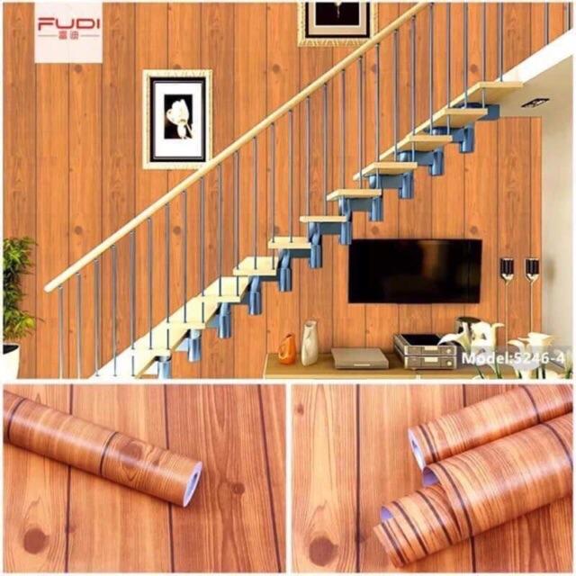 10 met giấy dán tường giả gỗ nâu , keo sẵn khổ rộng 45 cm - 3122393 , 1284325879 , 322_1284325879 , 105000 , 10-met-giay-dan-tuong-gia-go-nau-keo-san-kho-rong-45-cm-322_1284325879 , shopee.vn , 10 met giấy dán tường giả gỗ nâu , keo sẵn khổ rộng 45 cm