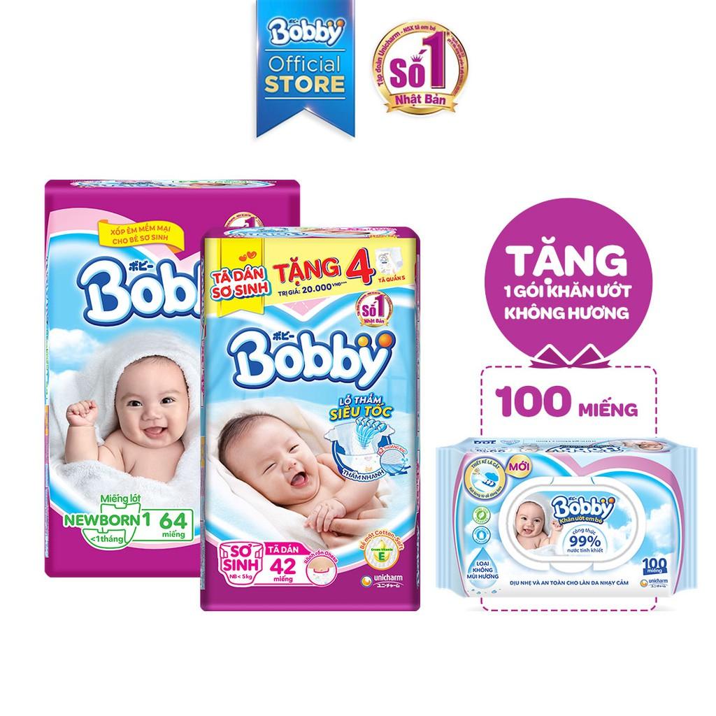 Combo Miếng Lót Sơ Sinh Bobby Newborn 1 (64 Miếng) + Tã Dán Bobby Siêu Thấm XS42