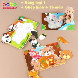 Bảng ghép hình Tô màu chủ đề gia đình cho bé iu – TG112