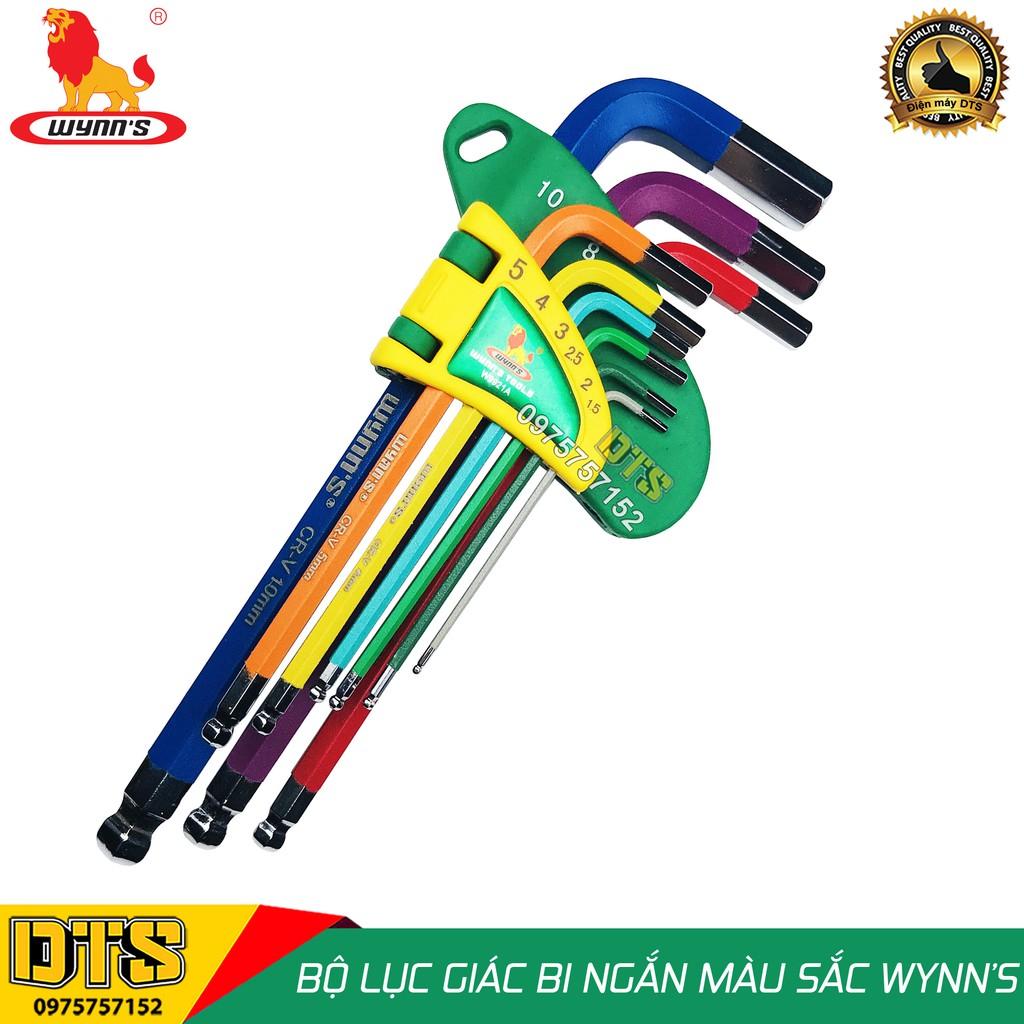 Bộ lục giác đầu bi 9 món ngắn (nhiều màu sắc) WYNN'S W9921A, bộ khóa lục giác thép cứng cao cấp CR-V chất lượng cao