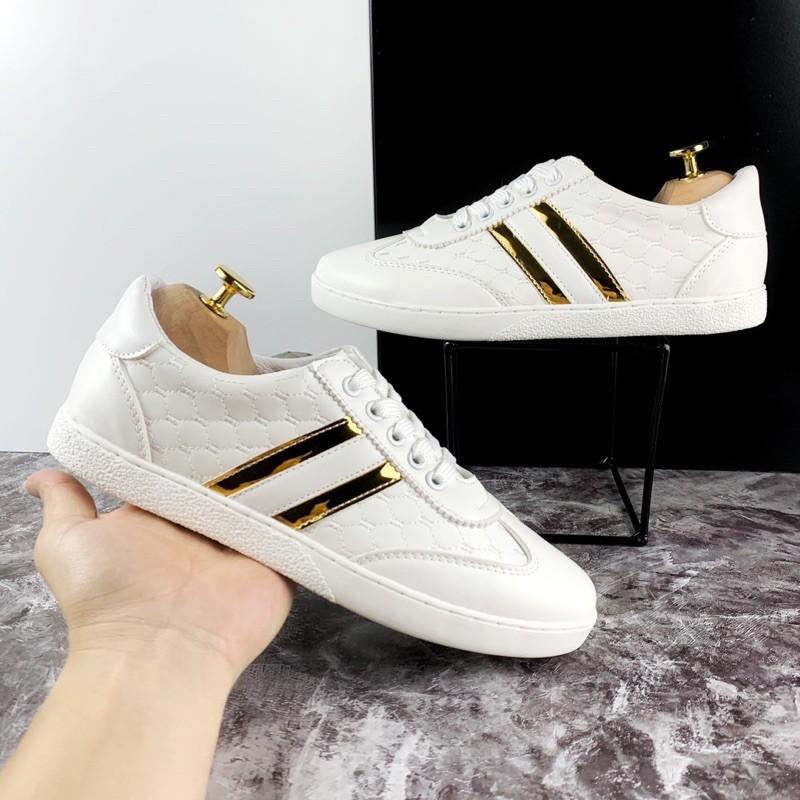 Giày Da Nam Dáng Thể Thao dập vân sọc vàng G27- sneaker thời trang