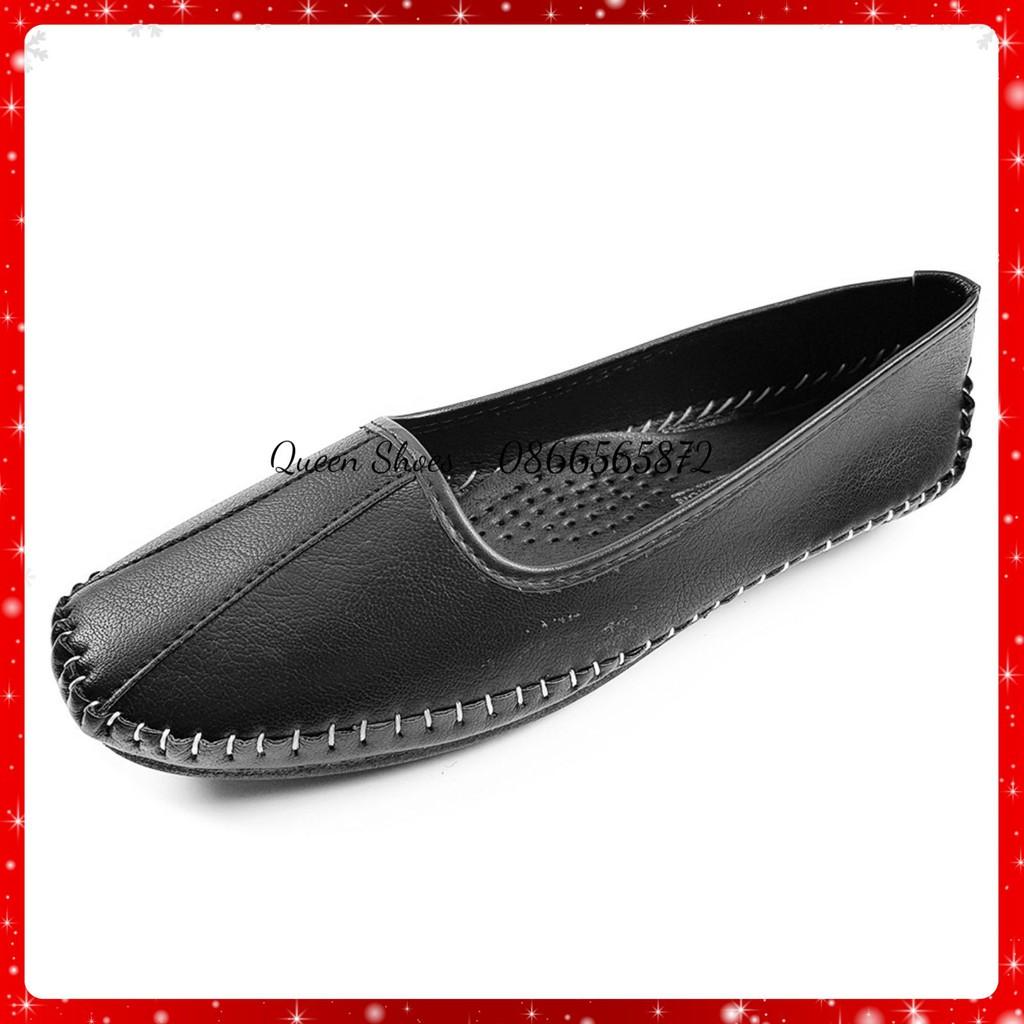 Giày lười slip on nữ, giày bệt nữ da lỳ cao cấp đế cao su đúc cực êm chân