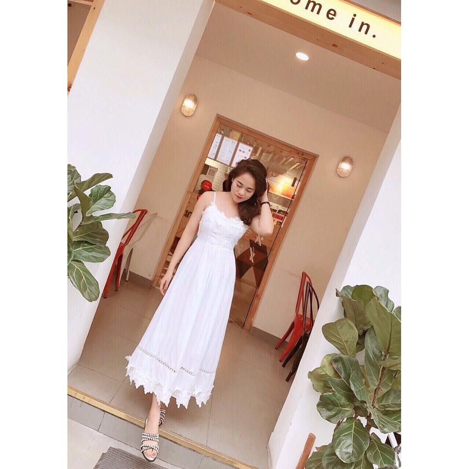 Đầm maxi viền ren trắng 2s