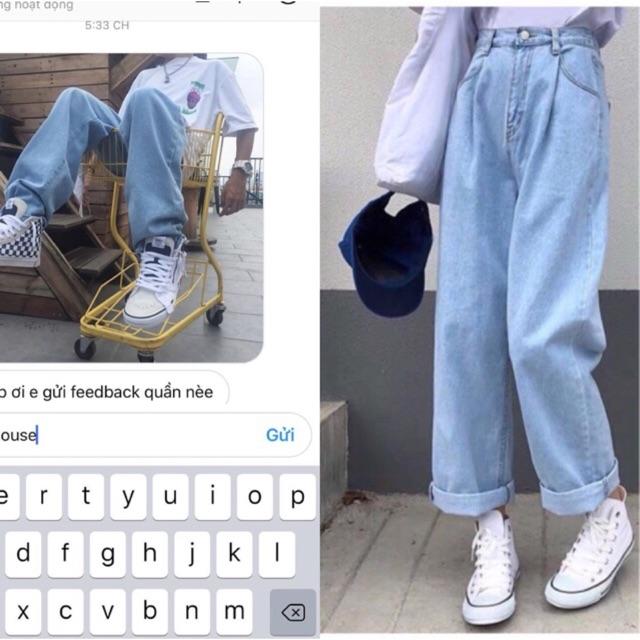 quần jean simple pant ống rộng