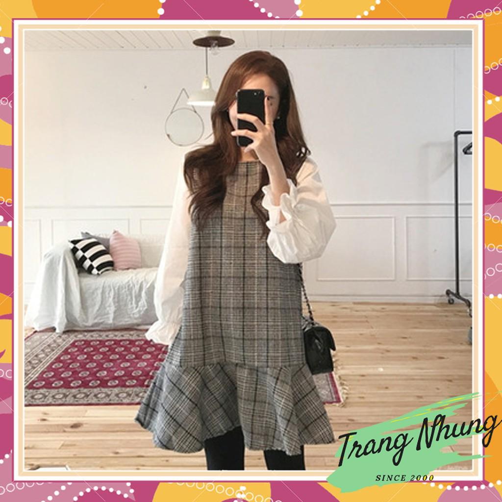 ⚡Giảm Giá⚡ Váy Thời trang tiểu thư kẻ ngang caro hàn quốc HAVU7P550 Cao Cấp - Phân phối chính thức Trang Nhung