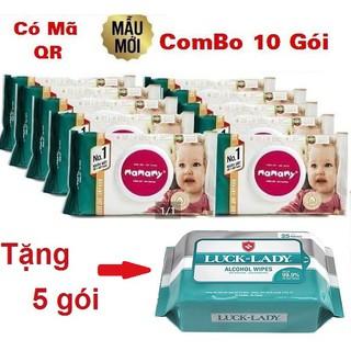 Combo 10 gói Khăn ướt Mamamy 100 tờ không mùi (Tặng 5 gói khăn ướt Luck Lady)