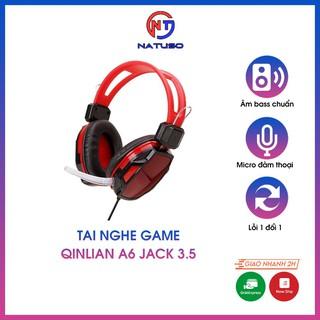 Tai Nghe Game Qinlian A6 Jack 3.5 Kiểu Dáng Chụp Tai Có Micro Đàm Thoại Dây Bọc Dù Chống Đứt Dùng Được Cho Điện Thoại