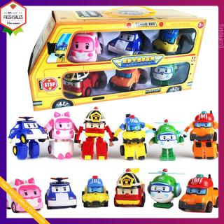 6 in 1 Korean Animation Cartoon Robocar Poli Transformation Robot Car Toys Set
