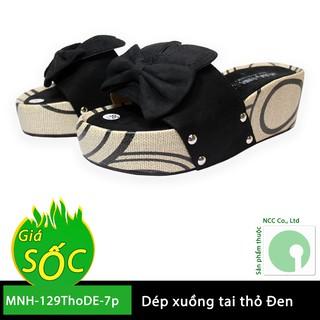 01 Đôi dép xuồng nữ tai thỏ giá rẻ - kiểu dáng mới nhất - MNH-129ThoDE-7p (Màu đen)