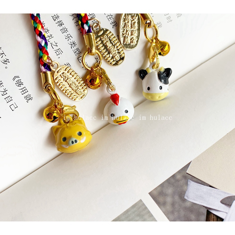 ┇Original cute export Japan 12 zodiac open bell bag mobile phone pendant chain creative hand
