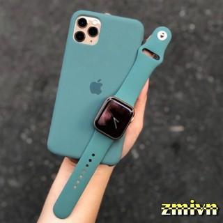 XANH MIDNIGHT GREEN _ Dây cao su Apple Watch kèm ốp chống bẩn dành cho iphone 6 7 8 Plus , X /XS/ XS MAX , 11 / 11 pro .